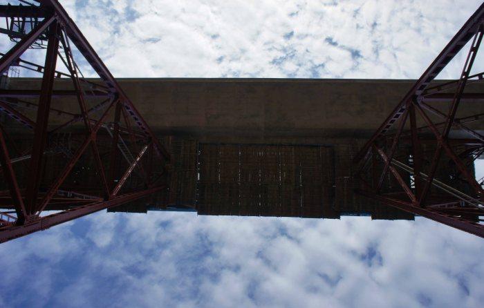 From below